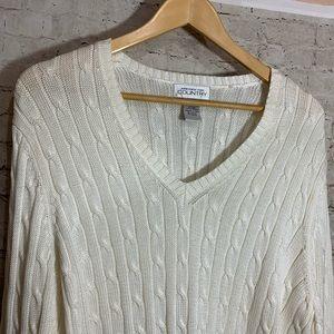 Jones New York Country cableknit sweater cream XL